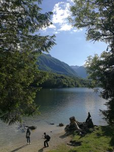 A view from the lake Bohinj and moutain Vogel